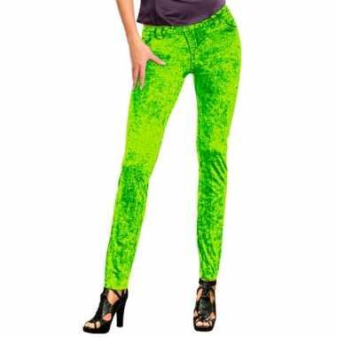 Feestkleding jeans legging neon groen- feestje!