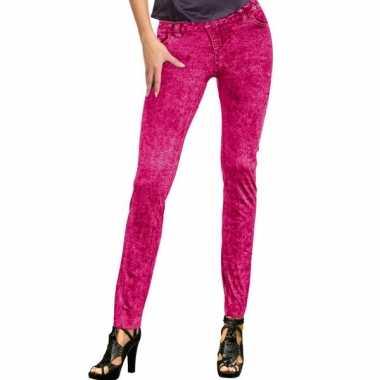 Feestkleding jeans legging neon roze- feestje!