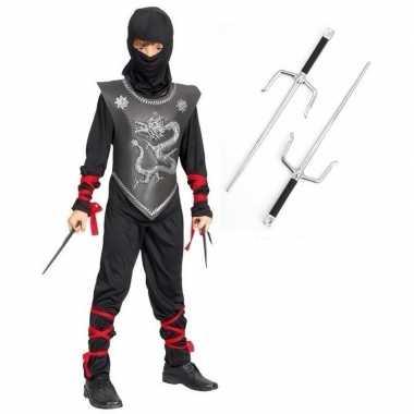 Feestkleding ninja met dolkenset maat s voor kinderen- feestje!