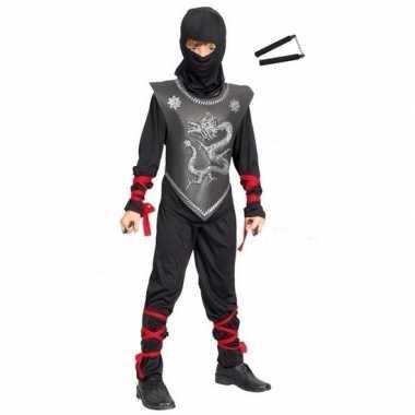 Feestkleding ninja met vechtstokjes maat l voor kinderen- feestje!