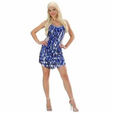 Feestkleding pailletten jurk blauw zilver- feestje!