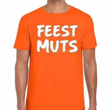 Feestmuts fun t-shirt oranje heren feestje