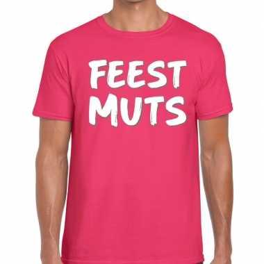 Feestmuts tekst t-shirt roze voor herenfeestje!