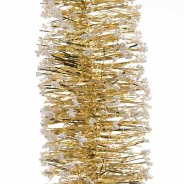 Feestslinger goud folie met sneeuw 7.5 x 200 cm- feestje!