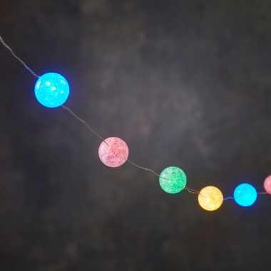 Feestverlichting lichtsnoer met 10 gekleurde lampjes op batterij 1 meter- feestje!