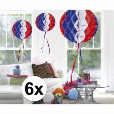 Feestversiering blauw wit rood decoratie bollen 30 cm set van 3- fees