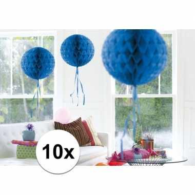 Feestversiering blauwe decoratie bollen 30 cm set van 3- feestje!