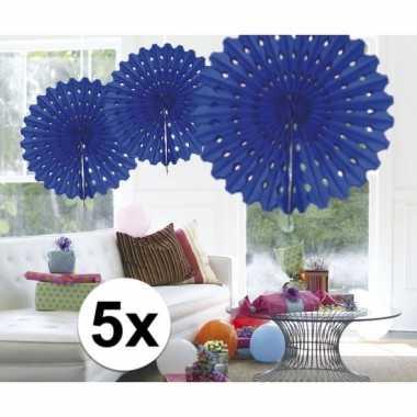 Feestversiering blauwe decoratie waaier 45 cm vijf stuks- feestje!