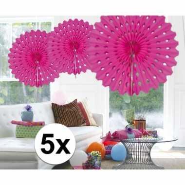 Feestversiering fuchsia decoratie waaier 45 cm vijf stuks- feestje!