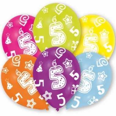 Feestversiering gekleurde ballonnen 5 jaar 6 stuks- feestje!