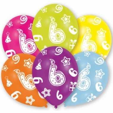 Feestversiering gekleurde ballonnen 6 jaar 6 stuks- feestje!