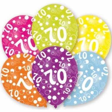 Feestversiering gekleurde ballonnen 70 jaar 6 stuks- feestje!