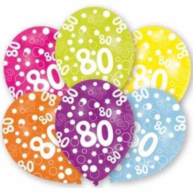 Feestversiering gekleurde ballonnen 80 jaar 6 stuks- feestje!