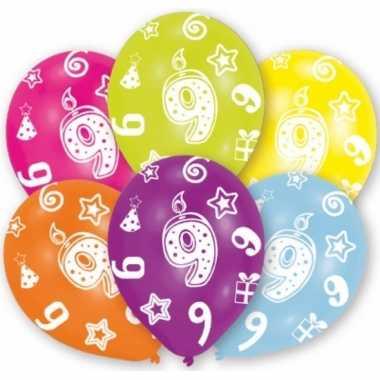 Feestversiering gekleurde ballonnen 9 jaar 6 stuks- feestje!
