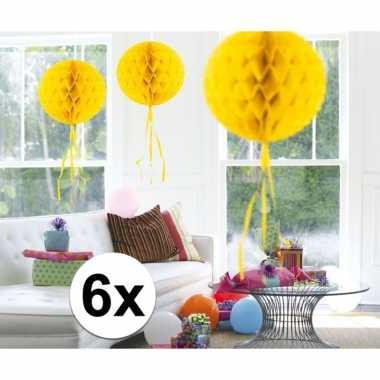 Feestversiering gele decoratie bollen 30 cm set van 3- feestje!