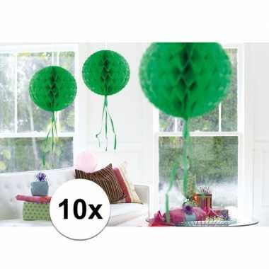 Feestversiering groene decoratie bollen 30 cm set van 3- feestje!