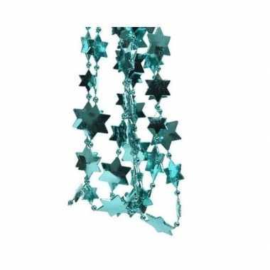 Feestversiering kralen slingers turkooise blauw sterretjes 270 cm kunststof/plastic kerstversiering 2 stuks- feestje!