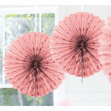 Feestversiering licht roze decoratie waaier 45 cm- feestje!