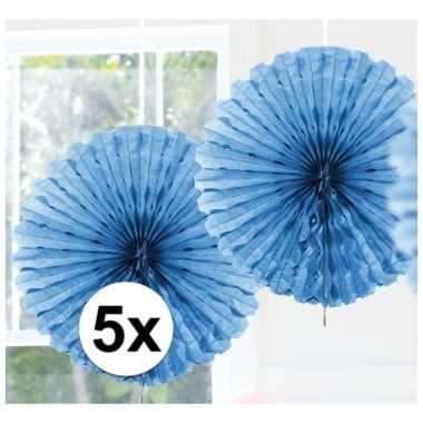 Feestversiering lichtblauwe decoratie waaier 45 cm vijf stuks- feestj