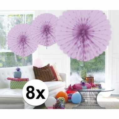 Feestversiering lila decoratie waaier 45 cm acht stuks- feestje!