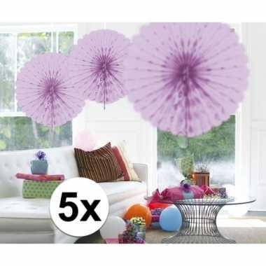 Feestversiering lila decoratie waaier 45 cm vijf stuks- feestje!