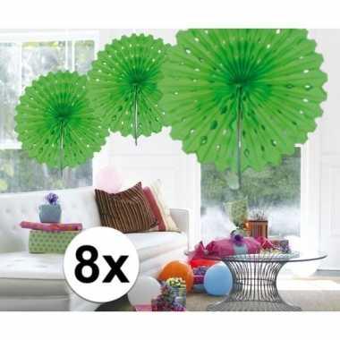 Feestversiering lime groen decoratie waaier 45 cm acht stuks- feestje