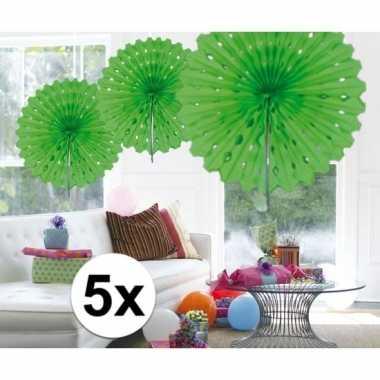Feestversiering lime groen decoratie waaier 45 cm vijf stuks- feestje