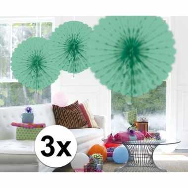 Feestversiering mint groene decoratie waaier 45 cm drie stuks- feestj