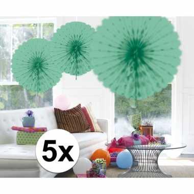 Feestversiering mint groene decoratie waaier 45 cm vijf stuks- feestj