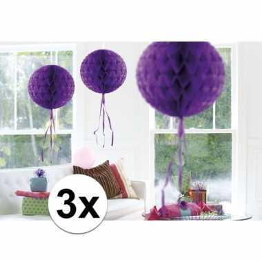 Feestversiering paarse decoratie bollen 30 cm set van 3- feestje!