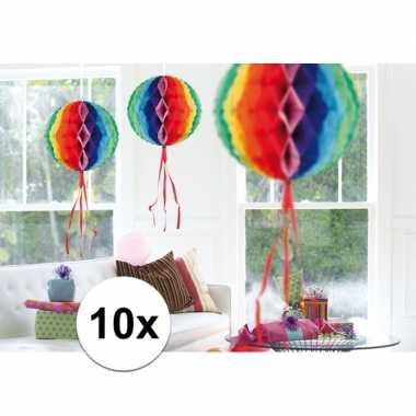 Feestversiering regenboog decoratie bollen 30 cm set van 3- feestje!