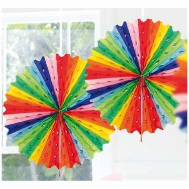 Feestversiering regenboog kleuren decoratie waaier 45 cm- feestje!