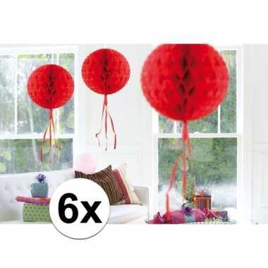 Feestversiering rode decoratie bollen 30 cm set van 3- feestje!