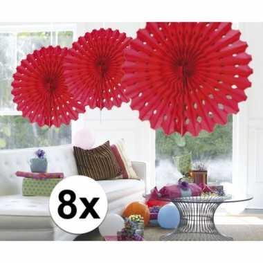 Feestversiering rode decoratie waaier 45 cm acht stuks- feestje!
