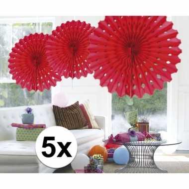Feestversiering rode decoratie waaier 45 cm vijf stuks- feestje!