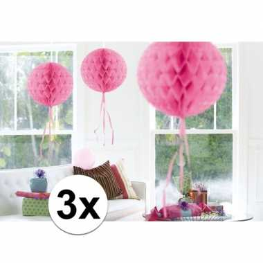 Feestversiering roze decoratie bollen 30 cm set van 3- feestje!