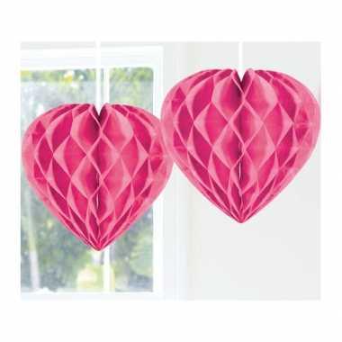 Feestversiering roze decoratie hart 30 cm- feestje!