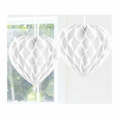 Feestversiering wit decoratie hart 30 cm- feestje!