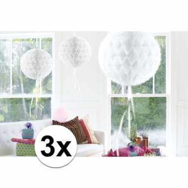 Feestversiering witte decoratie bollen 30 cm set van 3- feestje!