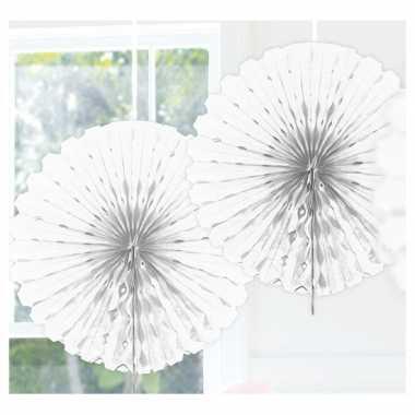 Feestversiering witte decoratie waaier 45 cm- feestje!