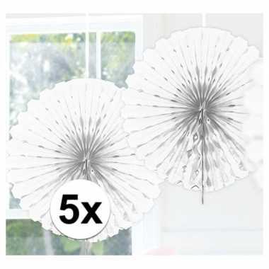 Feestversiering witte decoratie waaier 45 cm vijf stuks- feestje!
