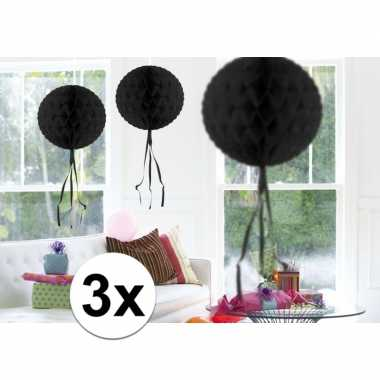 Feestversiering zwart decoratie bollen 30 cm 3 stuks- feestje!