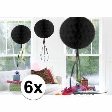 Feestversiering zwart decoratie bollen 30 cm 6 stuks- feestje!