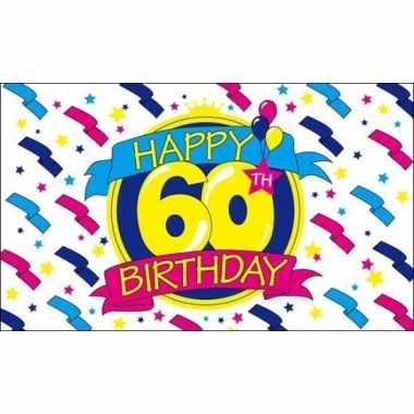 Feestvlag happy birthday 60 jaar- feestje!