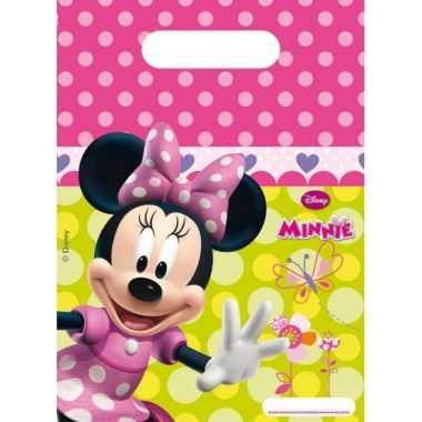 Feestzakje met minnie mouse plaatjes 6 stuks- feestje!