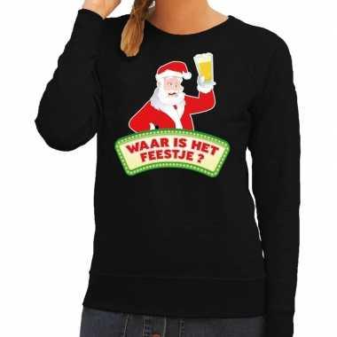 Foute kersttrui zwart waar is het feestje voor dames- feestje!