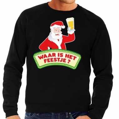Foute kersttrui zwart waar is het feestje voor heren- feestje!