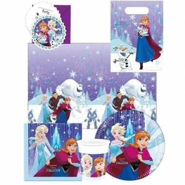 Frozen blauw/paars kinderfeest tafeldecoratie pakket 6 personen- fees