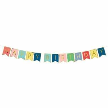 Gekleurde diy feest slinger happy birthday 1,75 meter- feestje!