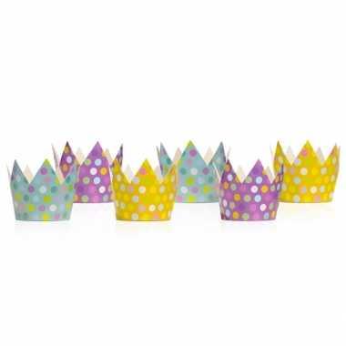 Gekleurde feest kroontjes 12 stuks- feestje!